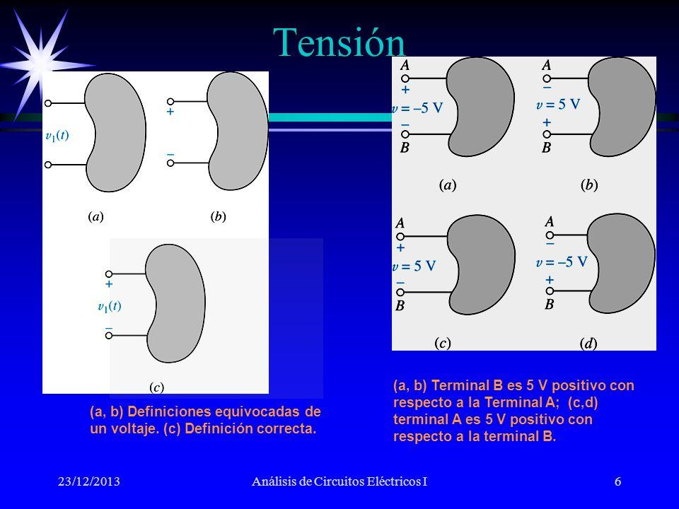Tensión 23/12/2013Análisis de Circuitos Eléctricos I7 Para definir una tensión en un elemento, se requiere marcar las terminales con signos + y – además de proporcionar un valor (un símbolo algebraico o un valor numérico).Para definir una tensión en un elemento, se requiere marcar las terminales con signos + y – además de proporcionar un valor (un símbolo algebraico o un valor numérico).