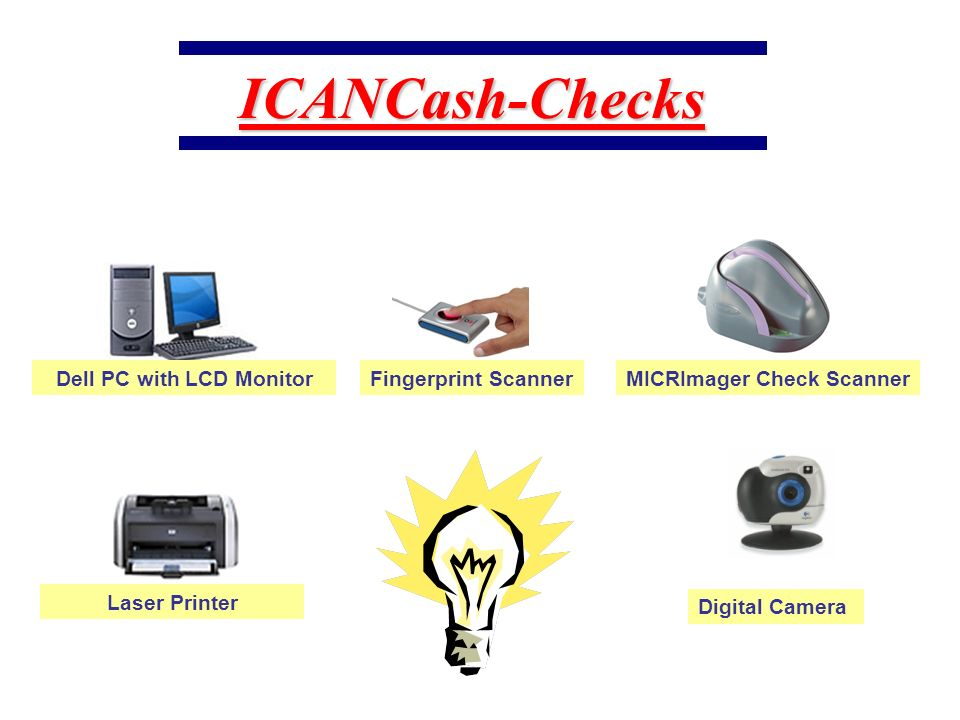 Complete System Digital Camera MICRImager Check Scanner Fingerprint Scanner Dell PC with LCD Monitor Laser Printer ICANCash-Checks