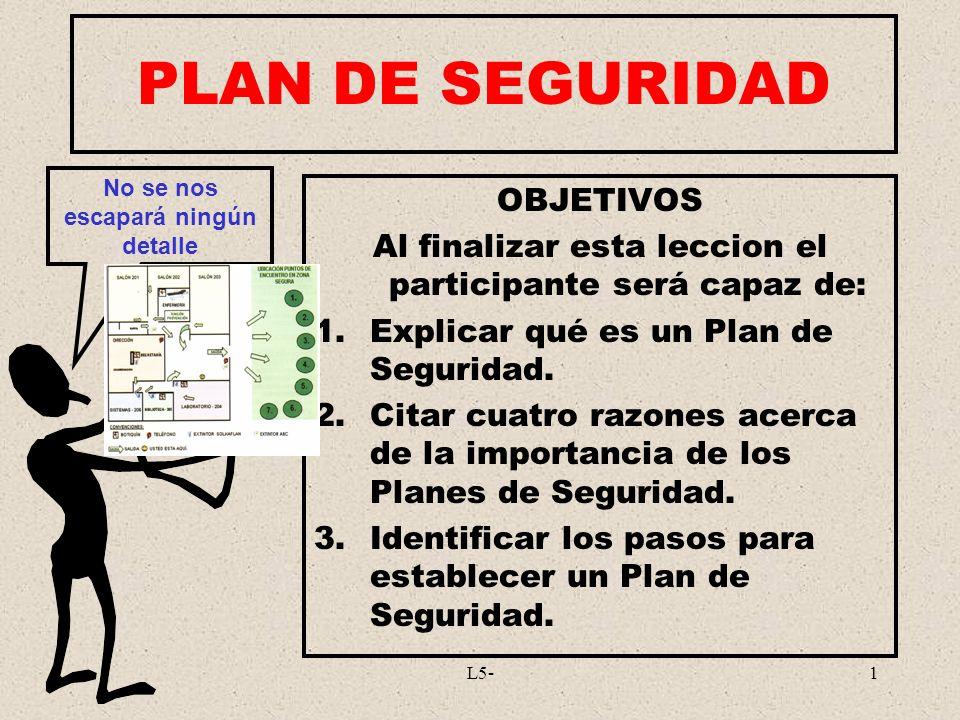 L5-1 PLAN DE SEGURIDAD OBJETIVOS Al finalizar esta leccion el participante será capaz de: 1.Explicar qué es un Plan de Seguridad. 2.Citar cuatro razon