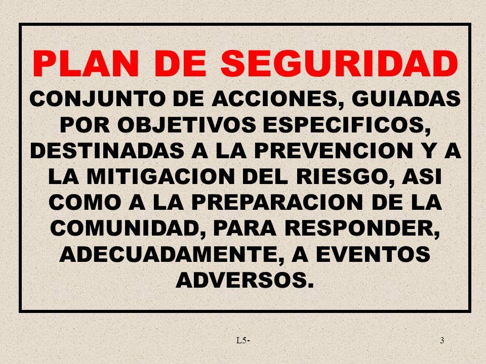 L5-3 PLAN DE SEGURIDAD CONJUNTO DE ACCIONES, GUIADAS POR OBJETIVOS ESPECIFICOS, DESTINADAS A LA PREVENCION Y A LA MITIGACION DEL RIESGO, ASI COMO A LA