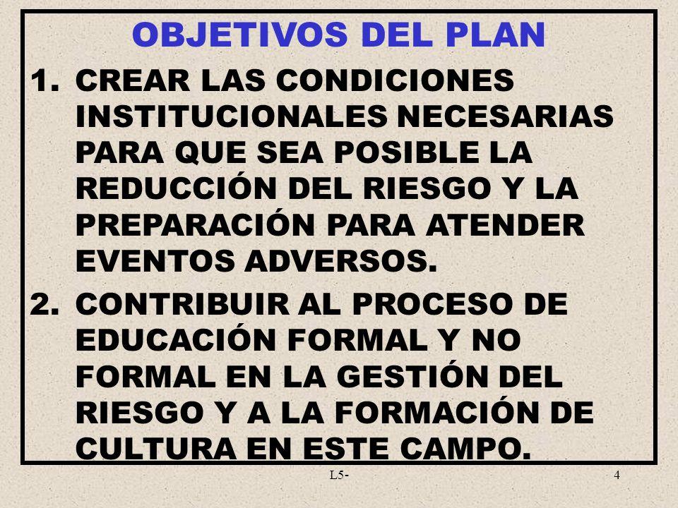 L5-4 OBJETIVOS DEL PLAN 1.CREAR LAS CONDICIONES INSTITUCIONALES NECESARIAS PARA QUE SEA POSIBLE LA REDUCCIÓN DEL RIESGO Y LA PREPARACIÓN PARA ATENDER