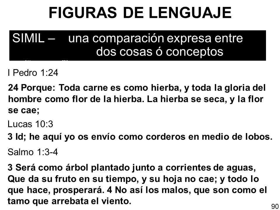 FIGURAS DE LENGUAJE SIMIL – una comparación expresa entre dos cosas ó conceptos (como). 90 24 Porque: Toda carne es como hierba, y toda la gloria del