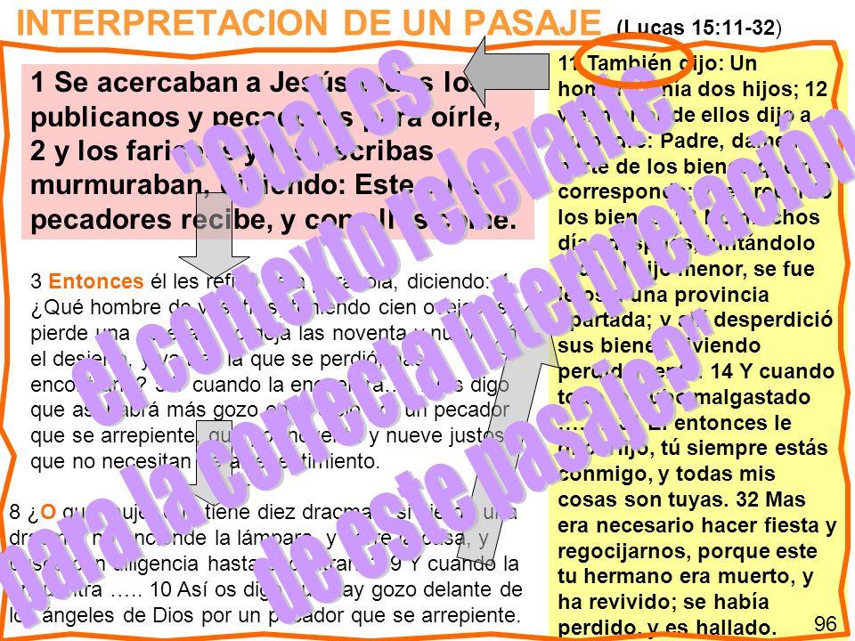 INTERPRETACION DE UN PASAJE (Lucas 15:11-32) 11 También dijo: Un hombre tenía dos hijos; 12 y el menor de ellos dijo a su padre: Padre, dame la parte