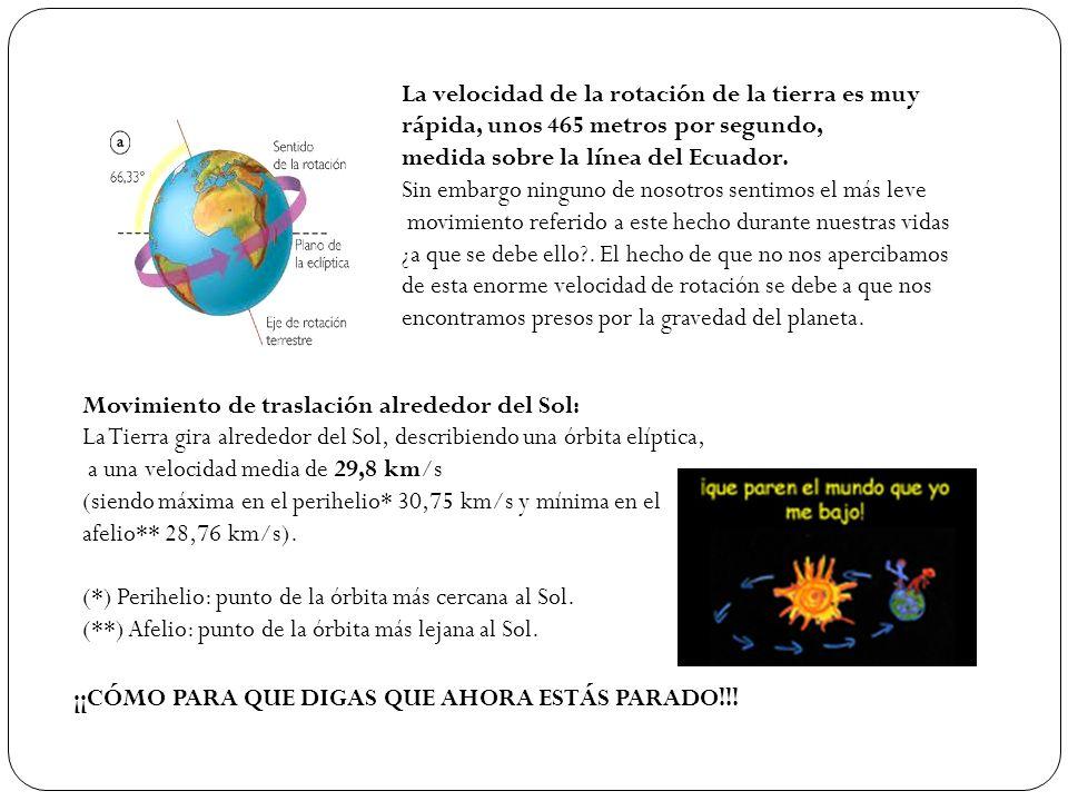 La velocidad de la rotación de la tierra es muy rápida, unos 465 metros por segundo, medida sobre la línea del Ecuador. Sin embargo ninguno de nosotro