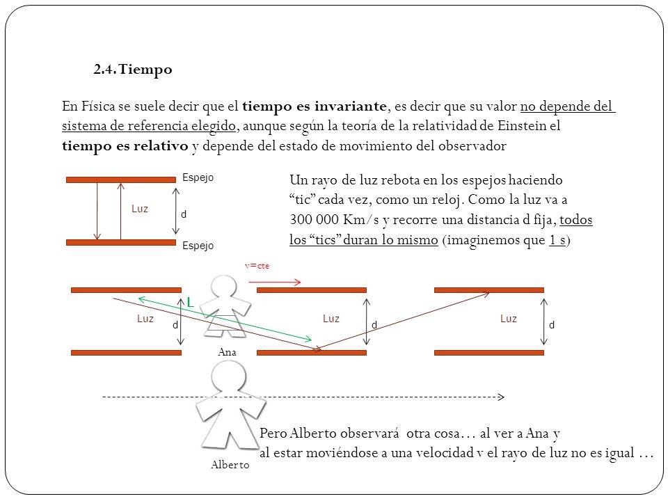 2.4. Tiempo En Física se suele decir que el tiempo es invariante, es decir que su valor no depende del sistema de referencia elegido, aunque según la
