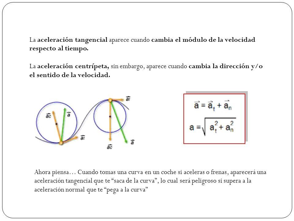 La aceleración tangencial aparece cuando cambia el módulo de la velocidad respecto al tiempo. La aceleración centrípeta, sin embargo, aparece cuando c