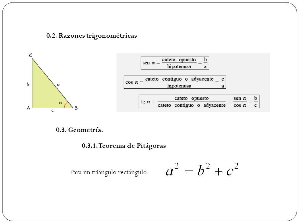 0.2. Razones trigonométricas 0.3. Geometría. 0.3.1. Teorema de Pitágoras Para un triángulo rectángulo: