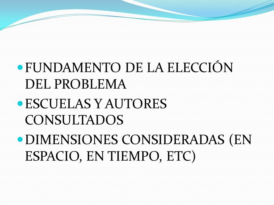 FUNDAMENTO DE LA ELECCIÓN DEL PROBLEMA ESCUELAS Y AUTORES CONSULTADOS DIMENSIONES CONSIDERADAS (EN ESPACIO, EN TIEMPO, ETC)