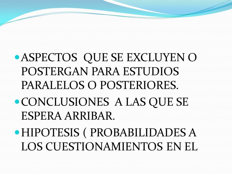 ASPECTOS QUE SE EXCLUYEN O POSTERGAN PARA ESTUDIOS PARALELOS O POSTERIORES. CONCLUSIONES A LAS QUE SE ESPERA ARRIBAR. HIPOTESIS ( PROBABILIDADES A LOS