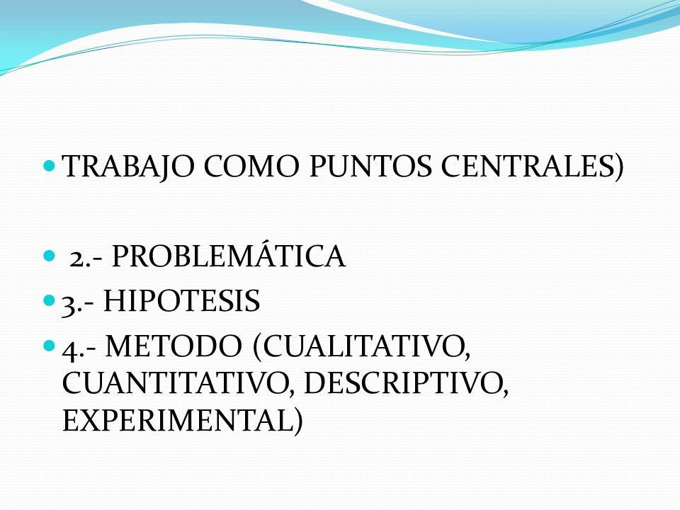 TRABAJO COMO PUNTOS CENTRALES) 2.- PROBLEMÁTICA 3.- HIPOTESIS 4.- METODO (CUALITATIVO, CUANTITATIVO, DESCRIPTIVO, EXPERIMENTAL)