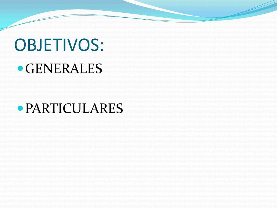 OBJETIVOS: GENERALES PARTICULARES