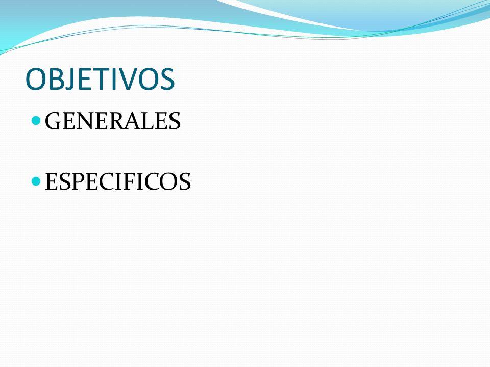 OBJETIVOS GENERALES ESPECIFICOS