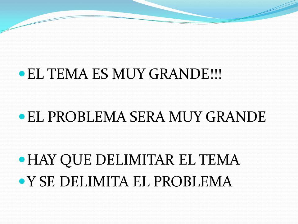 EL TEMA ES MUY GRANDE!!! EL PROBLEMA SERA MUY GRANDE HAY QUE DELIMITAR EL TEMA Y SE DELIMITA EL PROBLEMA