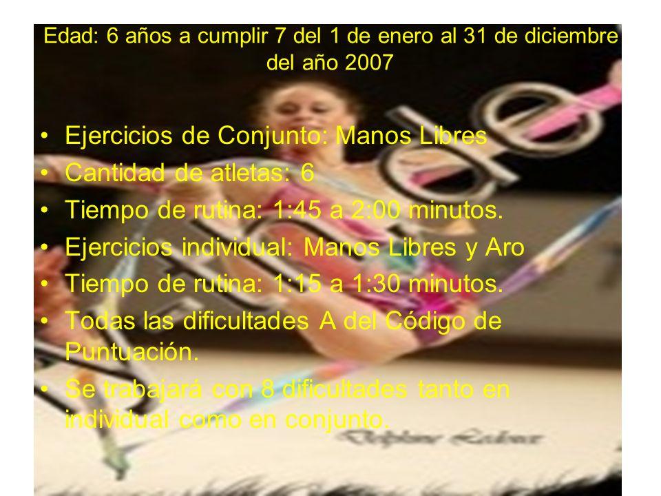 Edad: 6 años a cumplir 7 del 1 de enero al 31 de diciembre del año 2007 Ejercicios de Conjunto: Manos Libres Cantidad de atletas: 6 Tiempo de rutina: