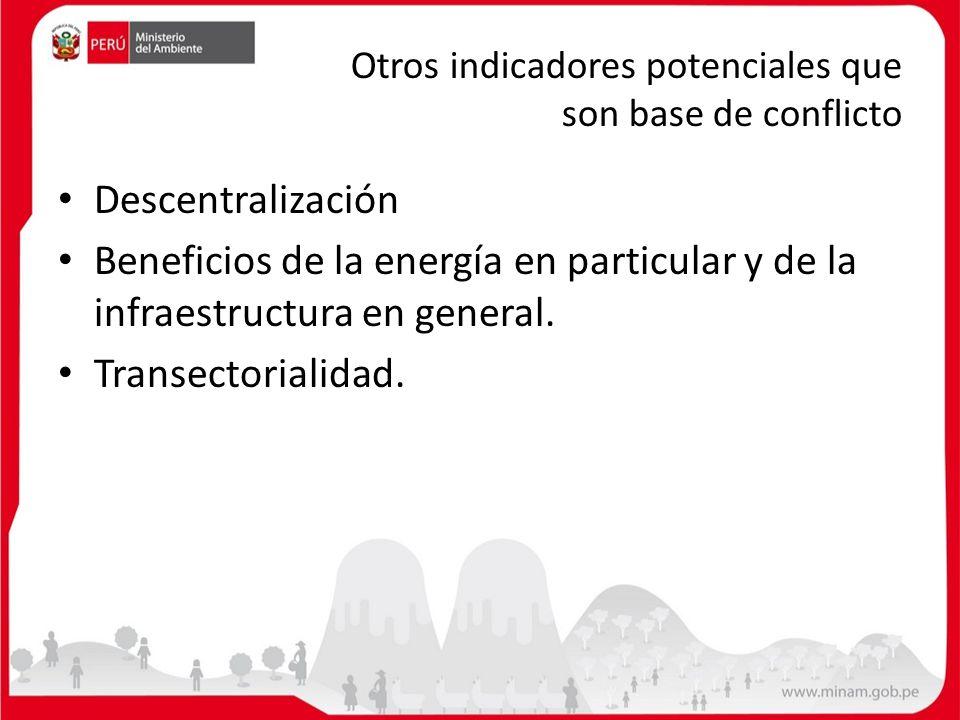 Otros indicadores potenciales que son base de conflicto Descentralización Beneficios de la energía en particular y de la infraestructura en general. T