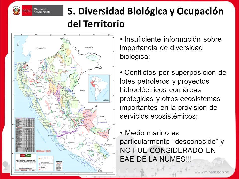 5. Diversidad Biológica y Ocupación del Territorio Insuficiente información sobre importancia de diversidad biológica; Conflictos por superposición de