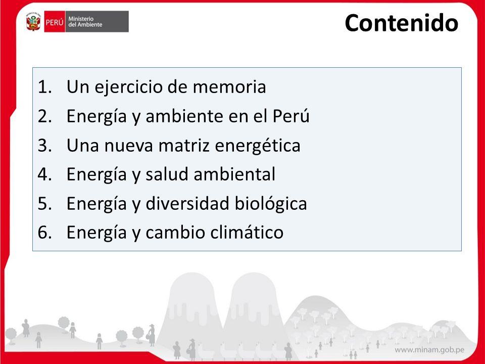 1. Un ejercicio de memoria 2.Energía y ambiente en el Perú 3.Una nueva matriz energética 4. Energía y salud ambiental 5.Energía y diversidad biológica