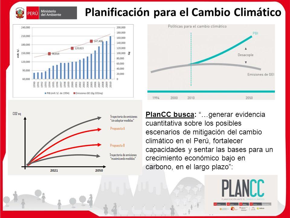 Planificación para el Cambio Climático PlanCC busca: …generar evidencia cuantitativa sobre los posibles escenarios de mitigación del cambio climático