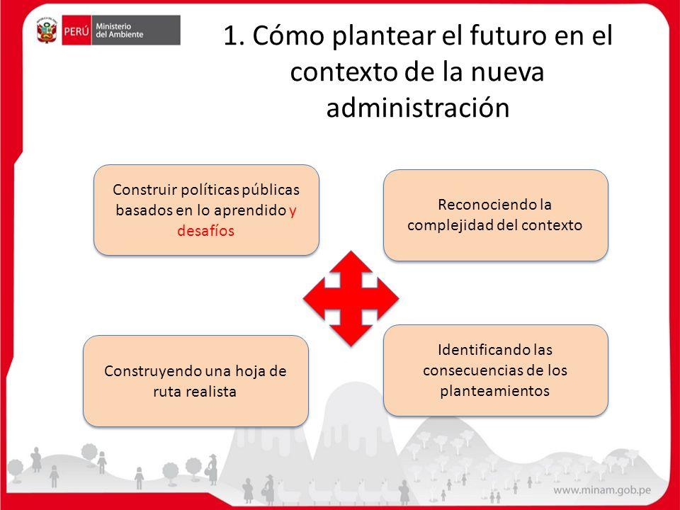1. Cómo plantear el futuro en el contexto de la nueva administración Construir políticas públicas basados en lo aprendido y desafíos Identificando las