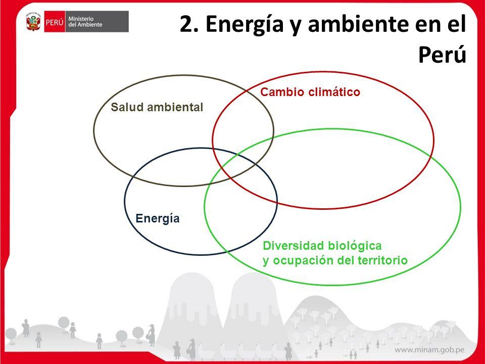 2. Energía y ambiente en el Perú Energía Diversidad biológica y ocupación del territorio Salud ambiental Cambio climático