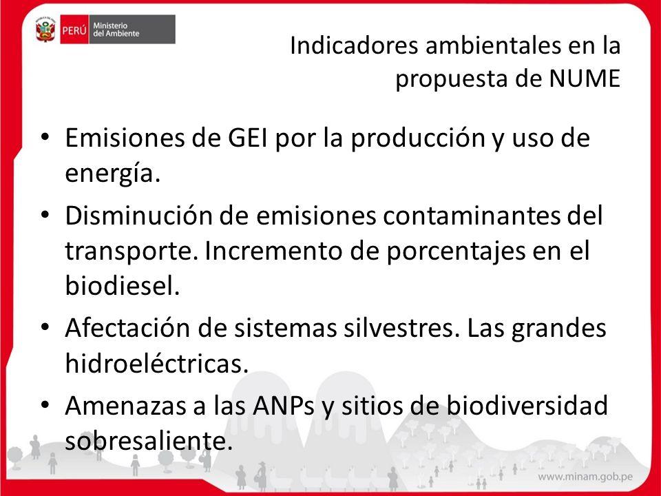 Indicadores ambientales en la propuesta de NUME Emisiones de GEI por la producción y uso de energía. Disminución de emisiones contaminantes del transp
