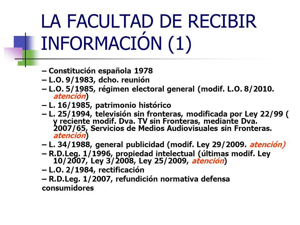 LA FACULTAD DE RECIBIR INFORMACIÓN (1) ESTRUCTURA DEL TEMA (prensa) – Los derechos fundamentales en la Unión – Los derechos fundamentales en la Constitución – El derecho a recibir información, según la Constitución española vigente (art.