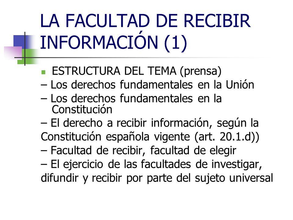 LA FACULTAD DE RECIBIR INFORMACIÓN (1) AUTORES: – Ulpiano – Sánchez Ferriz – Desantes Guanter – Glez.