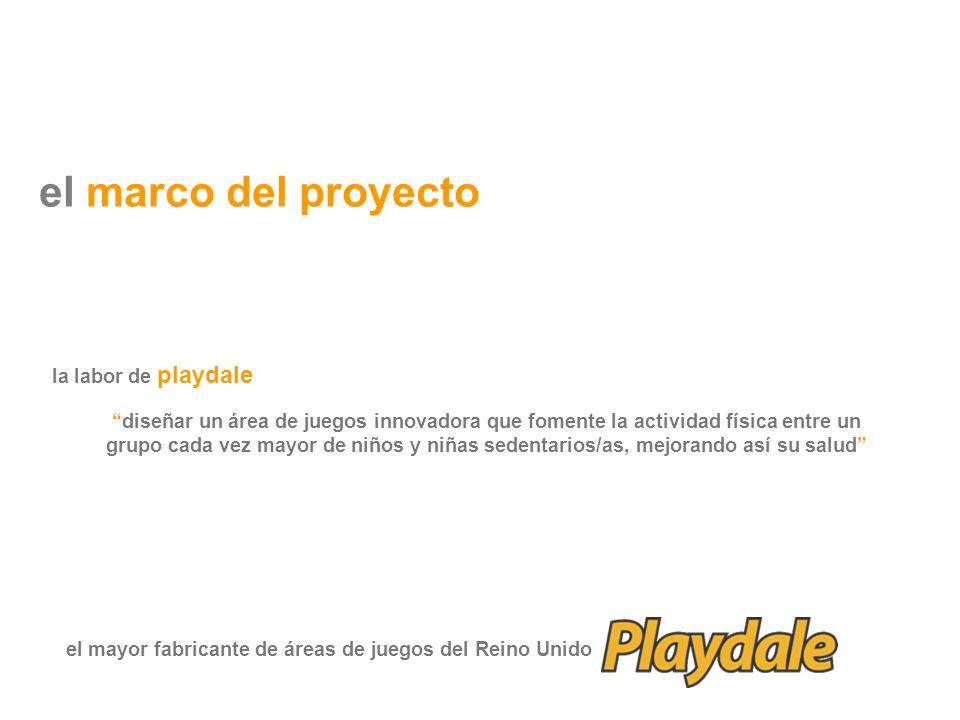el marco del proyecto diseñar un área de juegos innovadora que fomente la actividad física entre un grupo cada vez mayor de niños y niñas sedentarios/