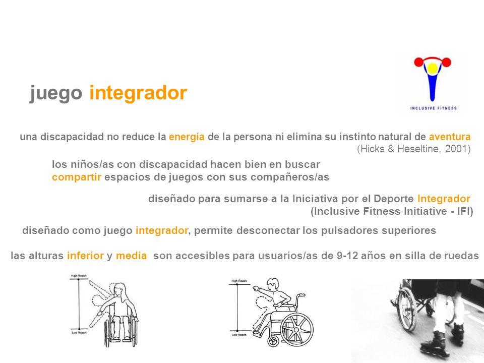 juego integrador las alturas inferior y media son accesibles para usuarios/as de 9-12 años en silla de ruedas diseñado como juego integrador, permite