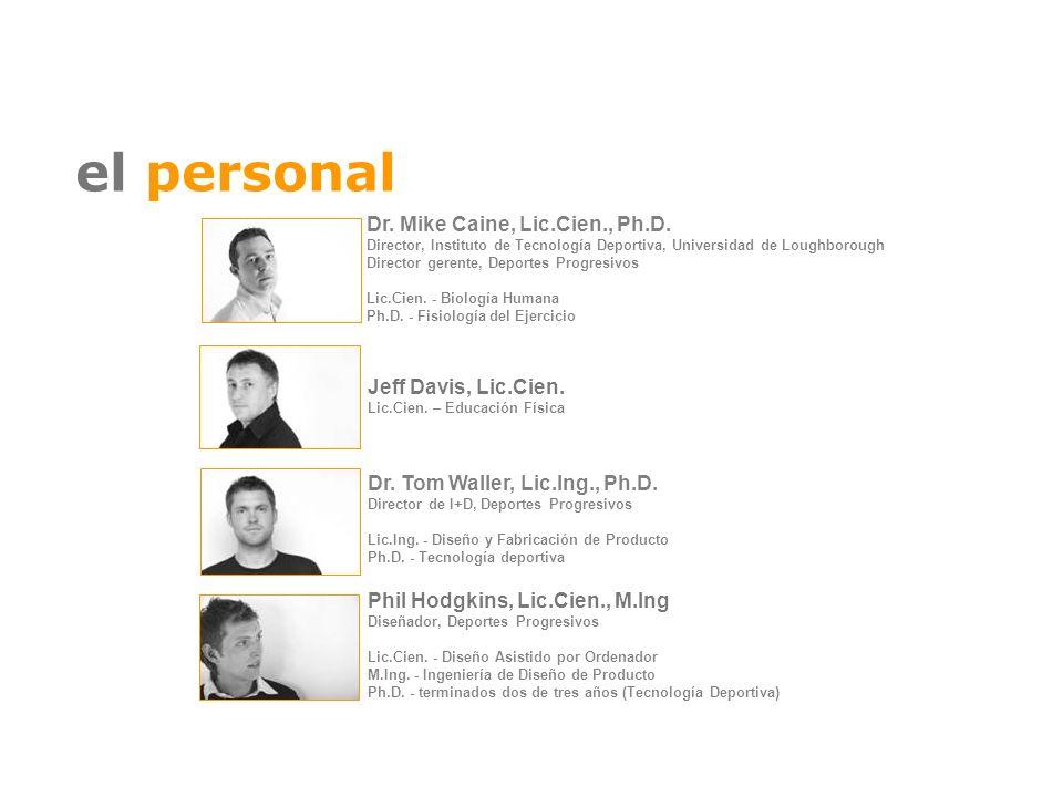 el personal Dr. Tom Waller, Lic.Ing., Ph.D. Director de I+D, Deportes Progresivos Lic.Ing. - Diseño y Fabricación de Producto Ph.D. - Tecnología depor