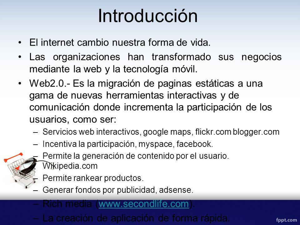 Introducción El internet cambio nuestra forma de vida. Las organizaciones han transformado sus negocios mediante la web y la tecnología móvil. Web2.0.