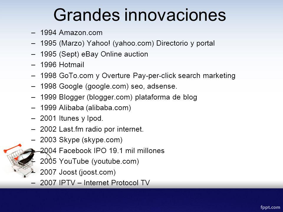 Grandes innovaciones –1994 Amazon.com –1995 (Marzo) Yahoo! (yahoo.com) Directorio y portal –1995 (Sept) eBay Online auction –1996 Hotmail –1998 GoTo.c