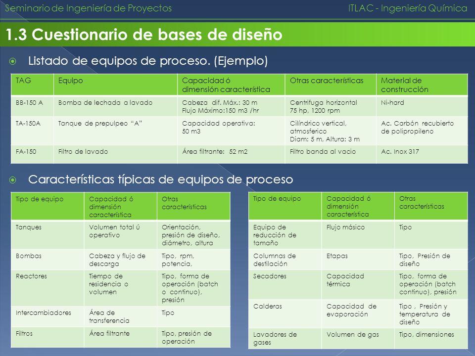Seminario de Ingeniería de Proyectos ITLAC - Ingeniería Química 1.3 Cuestionario de bases de diseño Listado de equipos de proceso. (Ejemplo) TAGEquipo