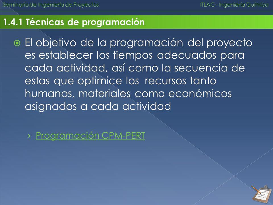 Seminario de Ingeniería de Proyectos ITLAC - Ingeniería Química 1.4.1 Técnicas de programación El objetivo de la programación del proyecto es establec
