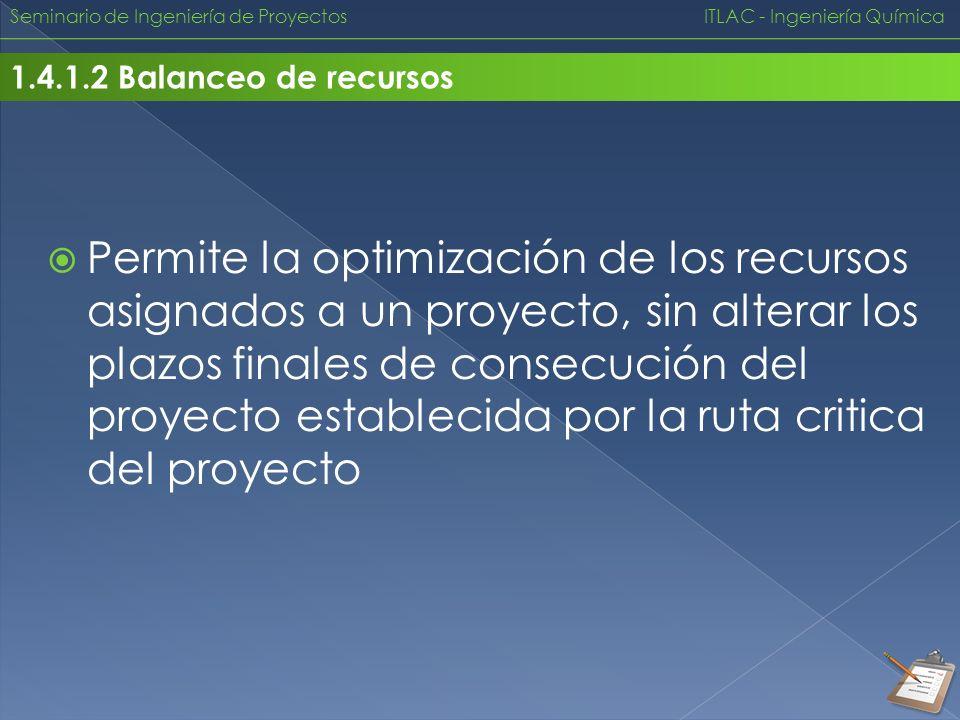 Seminario de Ingeniería de Proyectos ITLAC - Ingeniería Química 1.4.1.2 Balanceo de recursos Permite la optimización de los recursos asignados a un pr