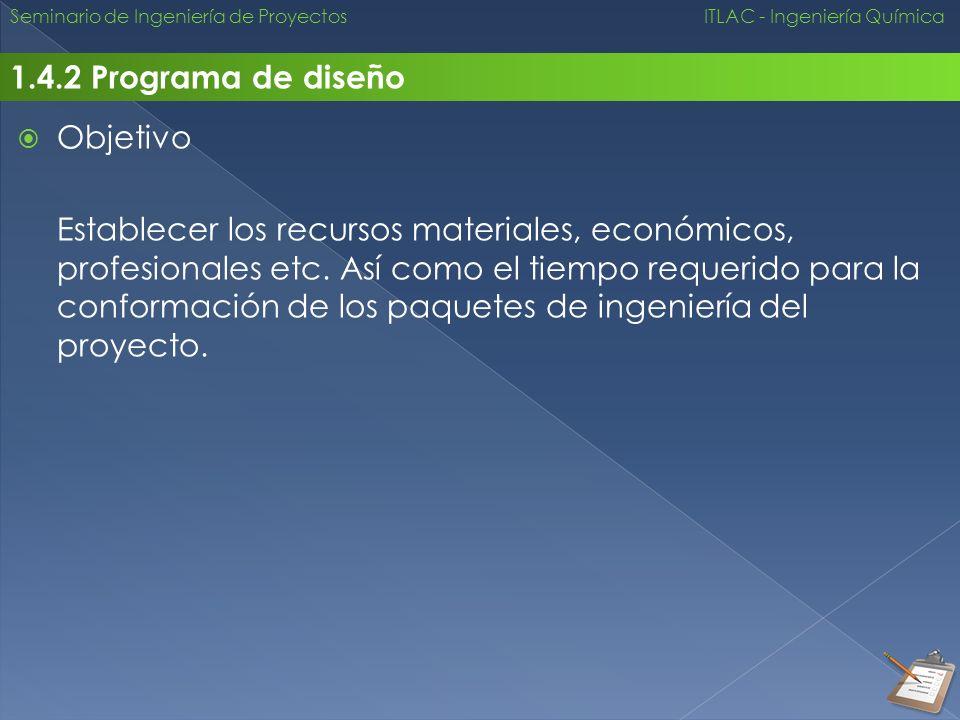 Seminario de Ingeniería de Proyectos ITLAC - Ingeniería Química 1.4.2 Programa de diseño Objetivo Establecer los recursos materiales, económicos, prof