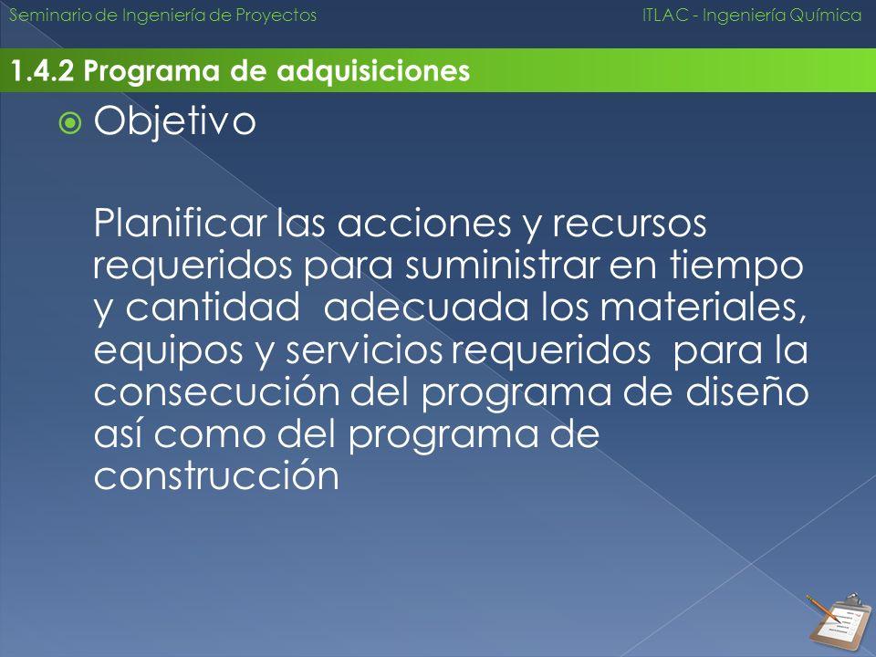 Seminario de Ingeniería de Proyectos ITLAC - Ingeniería Química 1.4.2 Programa de adquisiciones Objetivo Planificar las acciones y recursos requeridos
