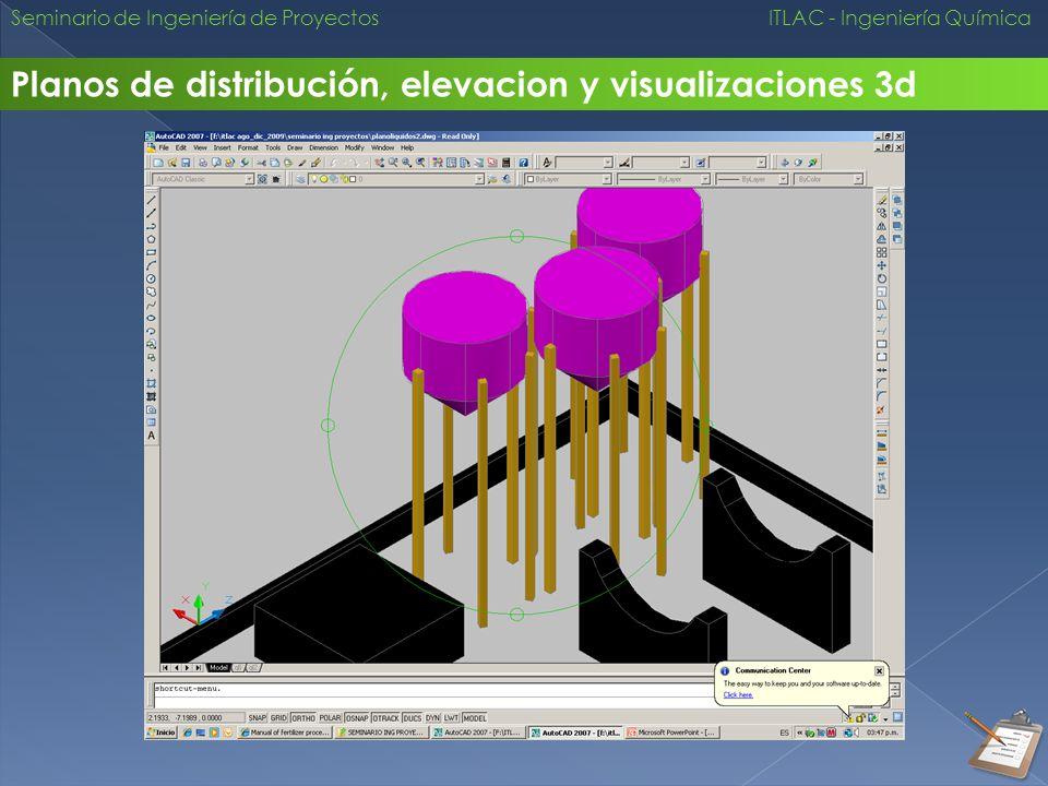 Seminario de Ingeniería de Proyectos ITLAC - Ingeniería Química Planos de distribución, elevacion y visualizaciones 3d