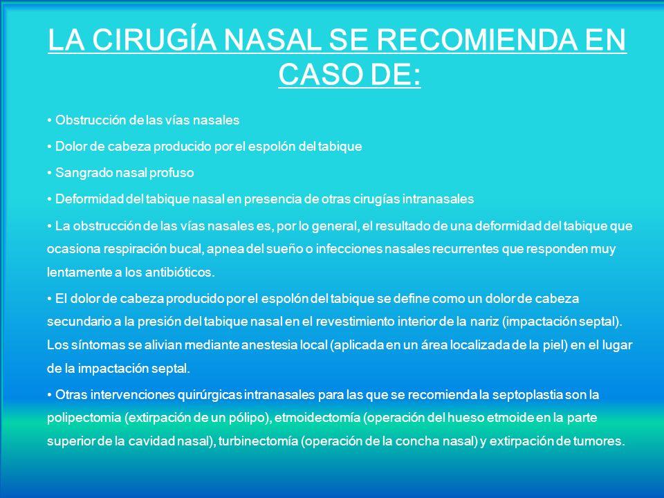 LA CIRUGÍA NASAL SE RECOMIENDA EN CASO DE: Obstrucción de las vías nasales Dolor de cabeza producido por el espolón del tabique Sangrado nasal profuso