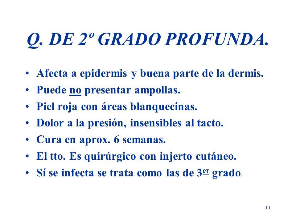 11 Q. DE 2º GRADO PROFUNDA. Afecta a epidermis y buena parte de la dermis. Puede no presentar ampollas. Piel roja con áreas blanquecinas. Dolor a la p