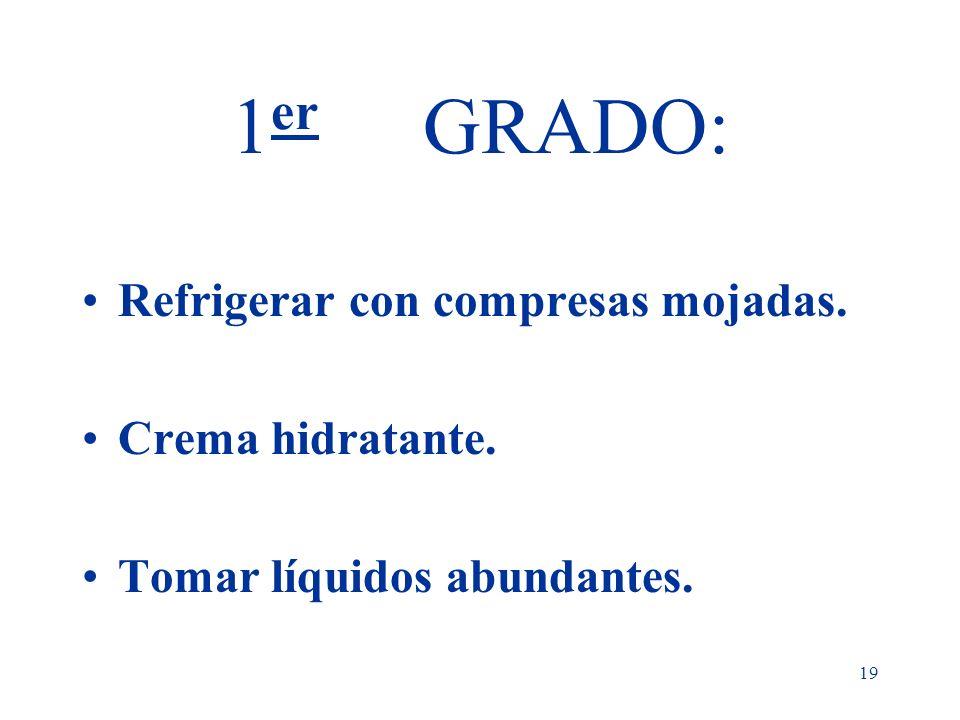 19 1 er GRADO: Refrigerar con compresas mojadas. Crema hidratante. Tomar líquidos abundantes.