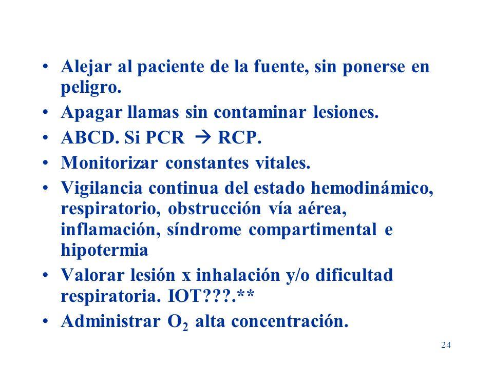 24 Alejar al paciente de la fuente, sin ponerse en peligro. Apagar llamas sin contaminar lesiones. ABCD. Si PCR RCP. Monitorizar constantes vitales. V