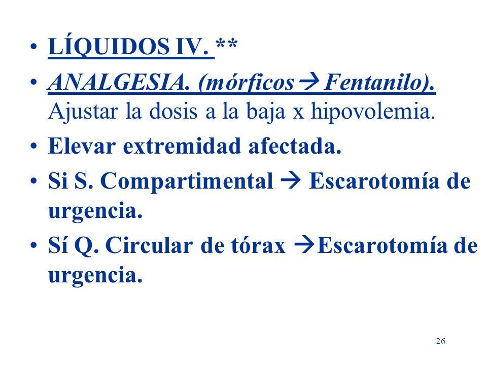 26 LÍQUIDOS IV. ** ANALGESIA. (mórficos Fentanilo). Ajustar la dosis a la baja x hipovolemia. Elevar extremidad afectada. Si S. Compartimental Escarot