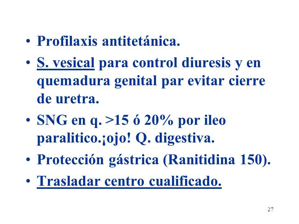 27 Profilaxis antitetánica. S. vesical para control diuresis y en quemadura genital par evitar cierre de uretra. SNG en q. >15 ó 20% por ileo paraliti