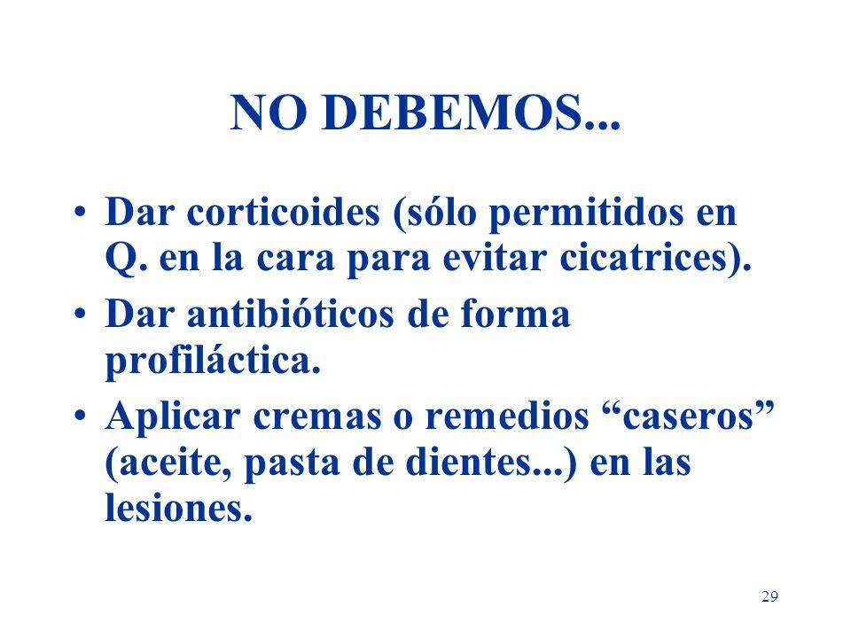 29 NO DEBEMOS... Dar corticoides (sólo permitidos en Q. en la cara para evitar cicatrices). Dar antibióticos de forma profiláctica. Aplicar cremas o r