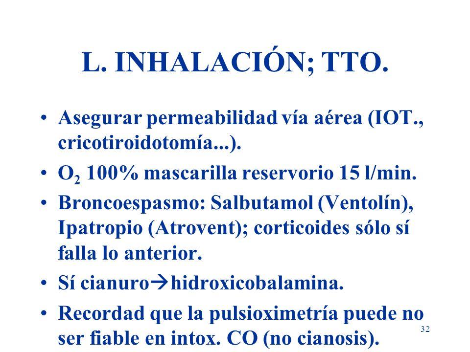 32 L. INHALACIÓN; TTO. Asegurar permeabilidad vía aérea (IOT., cricotiroidotomía...). O 2 100% mascarilla reservorio 15 l/min. Broncoespasmo: Salbutam