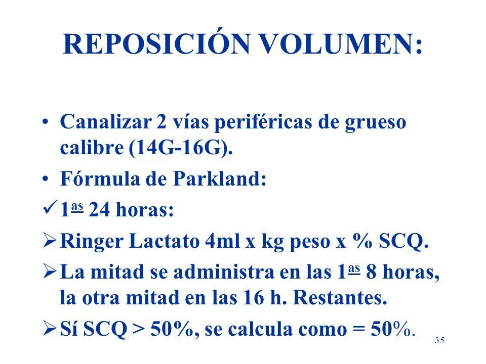 35 REPOSICIÓN VOLUMEN: Canalizar 2 vías periféricas de grueso calibre (14G-16G). Fórmula de Parkland: 1 as 24 horas: Ringer Lactato 4ml x kg peso x %