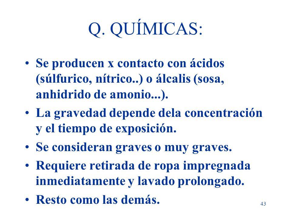 43 Q. QUÍMICAS: Se producen x contacto con ácidos (súlfurico, nítrico..) o álcalis (sosa, anhidrido de amonio...). La gravedad depende dela concentrac