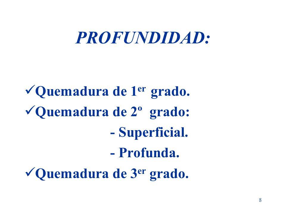 8 PROFUNDIDAD: Quemadura de 1 er grado. Quemadura de 2º grado: - Superficial. - Profunda. Quemadura de 3 er grado.