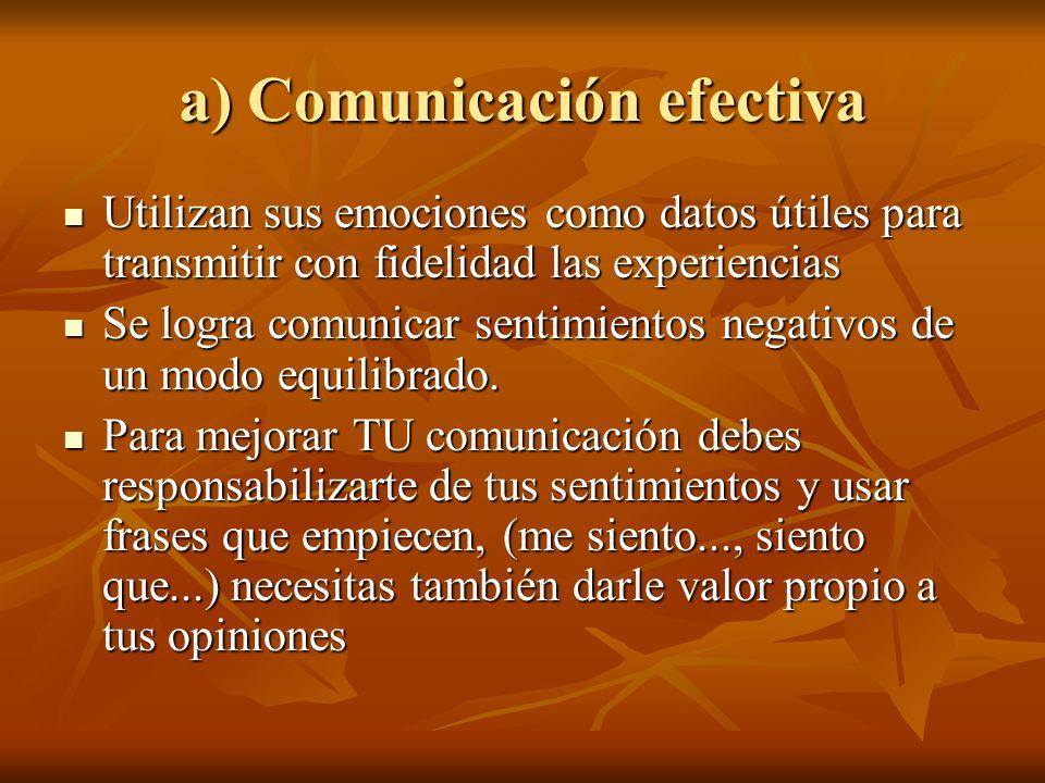 a) Comunicación efectiva Utilizan sus emociones como datos útiles para transmitir con fidelidad las experiencias Utilizan sus emociones como datos úti